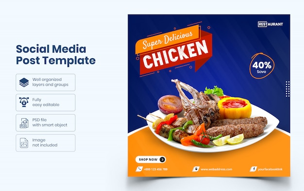 Modelo de banner de mídia social de comida deliciosa
