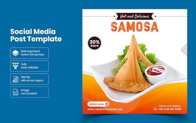 Modelo de banner de mídia social de comida e restaurante
