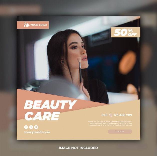 Modelo de banner de mídia social de cuidados de beleza