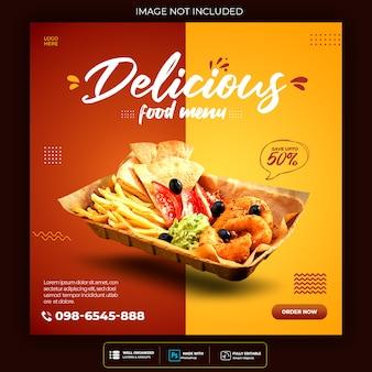 Modelo de banner de mídia social de fast-food