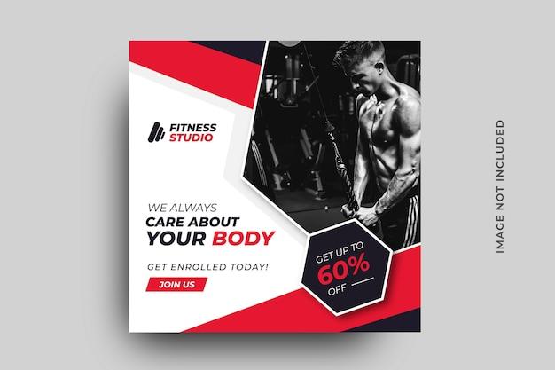 Modelo de banner de mídia social de fitness