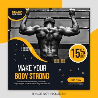 Modelo de banner de mídia social de ginásio fitness