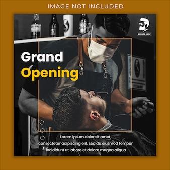 Modelo de banner de mídia social de inauguração de barbearia