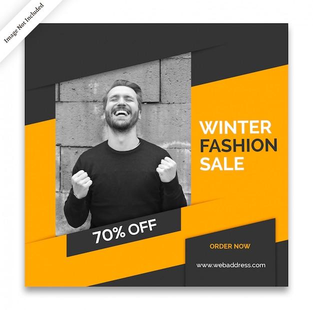 Modelo de banner de mídia social de inverno