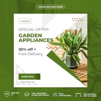 Modelo de banner de mídia social de jardim