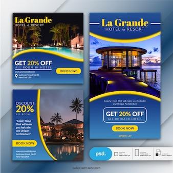 Modelo de banner de mídia social de marketing de negócios de hotel