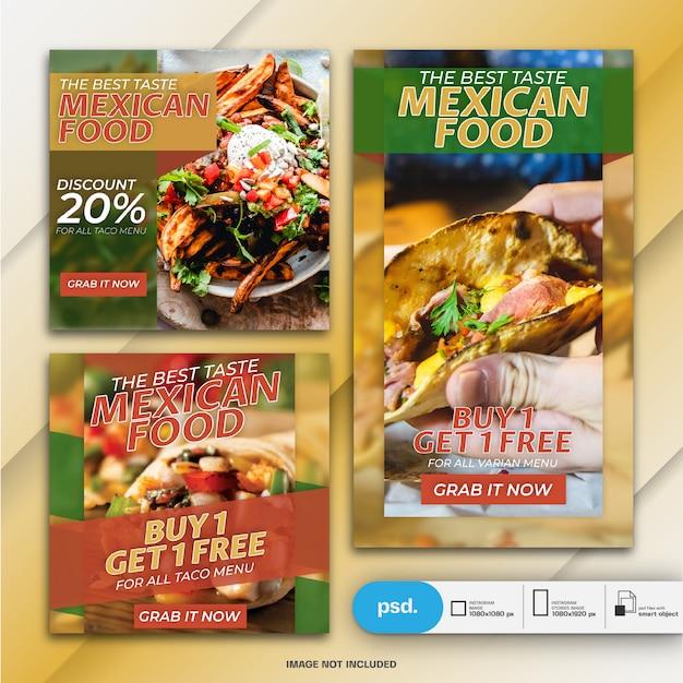 Modelo de banner de mídia social de marketing de negócios em alimentos