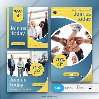 Modelo de banner de mídia social de marketing de negócios