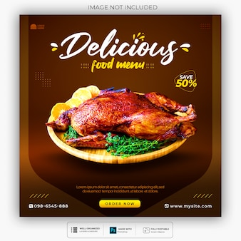Modelo de banner de mídia social de menu de comida especial