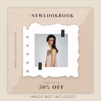Modelo de banner de mídia social de papel rasgado de coleção de moda