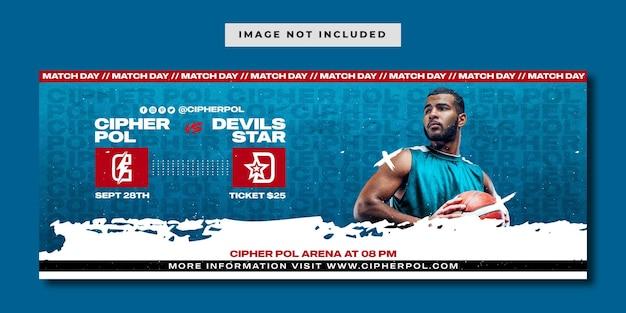 Modelo de banner de mídia social de partida de basquete