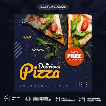 Modelo de banner de mídia social de pizza