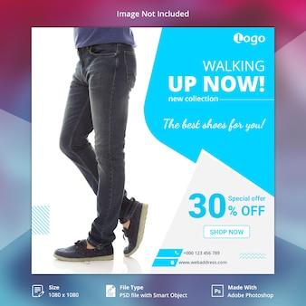 Modelo de banner de mídia social de sapatos