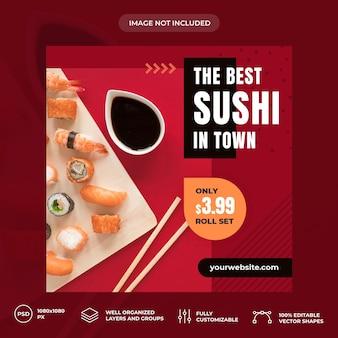 Modelo de banner de mídia social de sushi