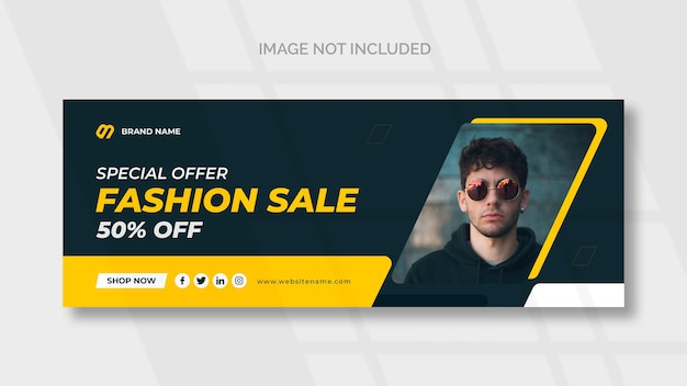 Modelo de banner de mídia social de venda de moda no facebook