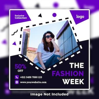 Modelo de banner de mídia social de venda de moda