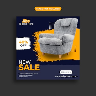 Modelo de banner de mídia social de venda de móveis