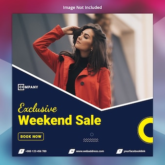 Modelo de banner de mídia social de venda exclusiva
