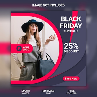 Modelo de banner de mídia social de venda sexta-feira negra