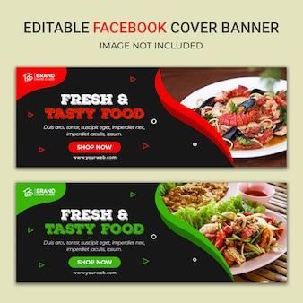 Modelo de banner de mídia social deliciosa comida no facebook