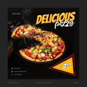 Modelo de banner de mídia social deliciosa pizza