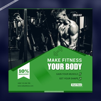 Modelo de banner de mídia social do seu corpo de fitness
