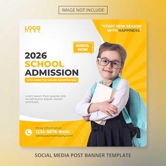 Modelo de banner de mídia social educacional psd admissão na escola de volta às aulas