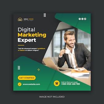 Modelo de banner de mídia social especialista em marketing digital