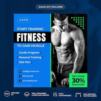 Modelo de banner de mídia social fitness personal trainer psd premium
