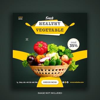 Modelo de banner de mídia social instagram de comida saudável