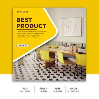 Modelo de banner de mídia social instagram, melhor luxo de móveis amarelo
