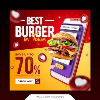 Modelo de banner de mídia social instagram para promoção de menu de hambúrguer