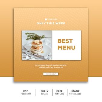 Modelo de banner de mídia social instagram, restaurante de comida melhor menu ouro
