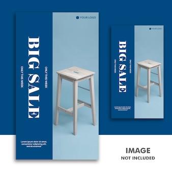Modelo de banner de mídia social instagram story, furniture luxury blue sale