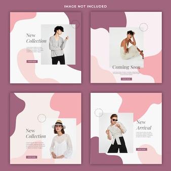 Modelo de banner de mídia social líquida moda pastel
