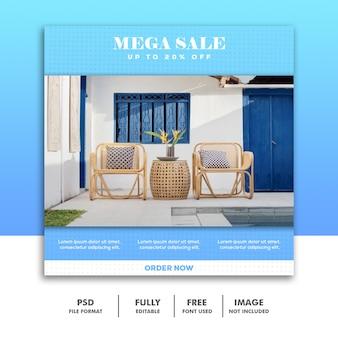 Modelo de banner de mídia social, móveis de luxo azul simples