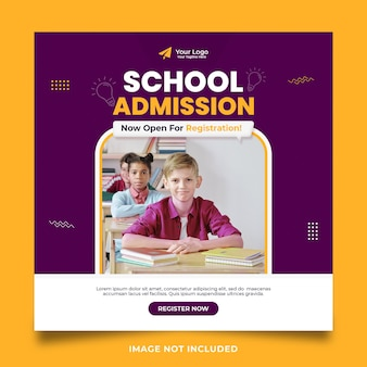 Modelo de banner de mídia social para admissão escolar