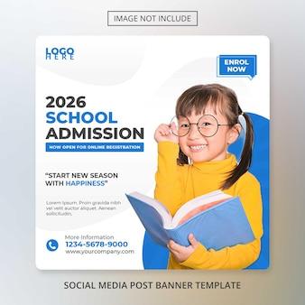 Modelo de banner de mídia social para admissão na escola de volta à escola