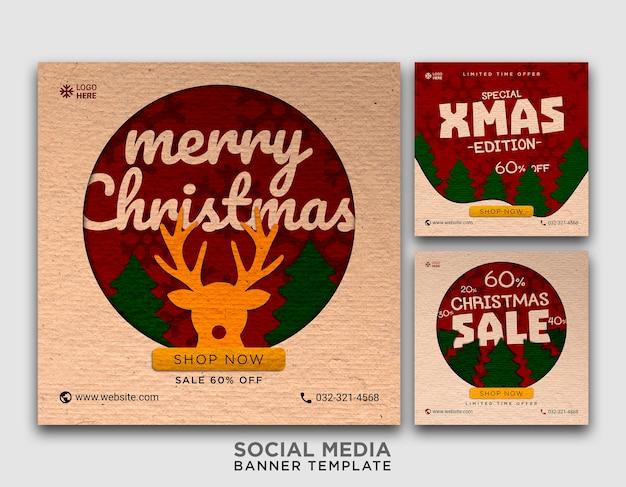 Modelo de banner de mídia social para cartão de natal