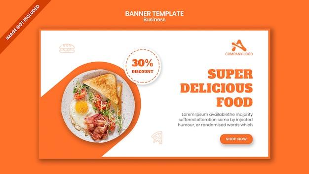 Modelo de banner de mídia social para comida de restaurante