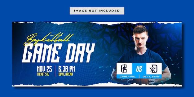 Modelo de banner de mídia social para dia de jogo de basquete