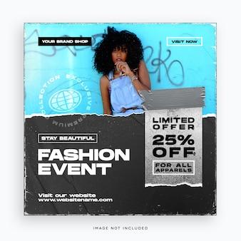 Modelo de banner de mídia social para eventos de moda