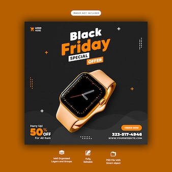 Modelo de banner de mídia social para oferta especial de black friday