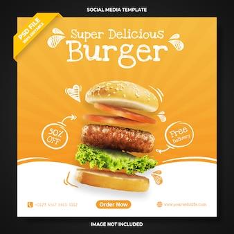 Modelo de banner de mídia social para promoção de hambúrguer super delicioso