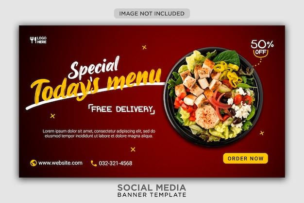 Modelo de banner de mídia social para promoção de menu de hoje