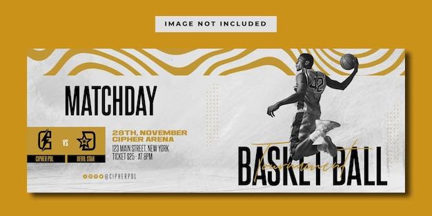 Modelo de banner de mídia social para torneio de basquete