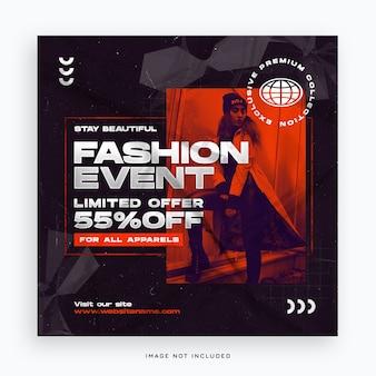Modelo de banner de mídia social para venda de evento de moda