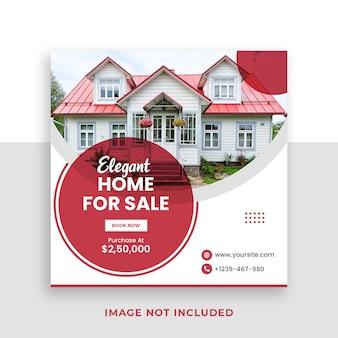 Modelo de banner de mídia social quadrada para venda de imóveis