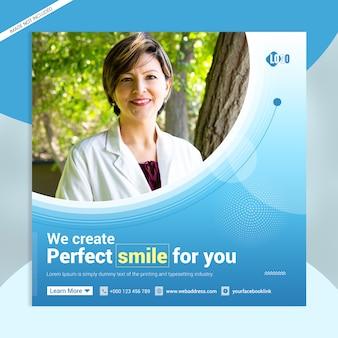 Modelo de banner de mídia social sorriso perfeito