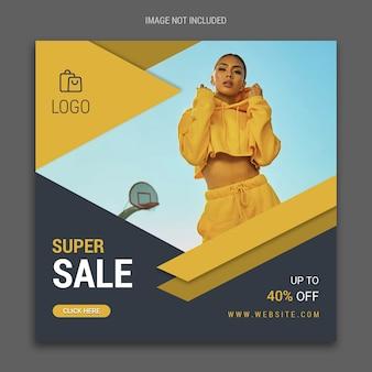 Modelo de banner de mídia social super venda